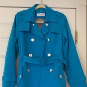 Calvin Klein Bright teal trench coat - Size small